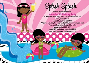 African American Pool Party Invitations - Printable or Printed