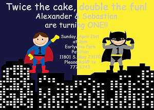 Batman and Superman Superhero Birthday Invitations - Printable or Printed