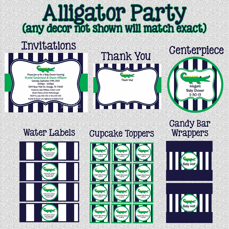 Preppy Alligator Printable Party Package - Invitations - Party ...