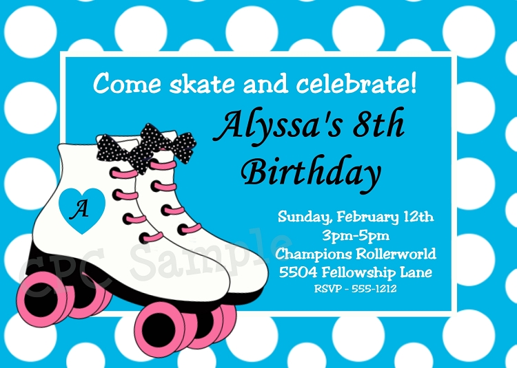 rollerskating themed party invitations., Party invitations