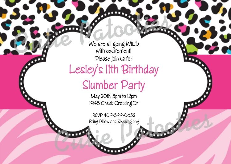 Animal Print Birthday Invitations Free Custom Invitations – Print Birthday Invitations Free Printable