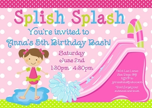 Pool Party Invitations  |  Water slide Invitation |  Printable or Printed