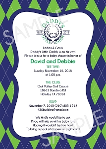 Daddy's Caddy Golf Theme Baby Shower Invitation with Green & Navy Argyle