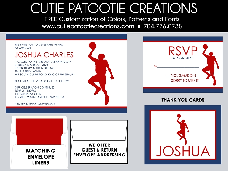 Red White and Blue Basketball Bar Mitzvah Invitations Custom