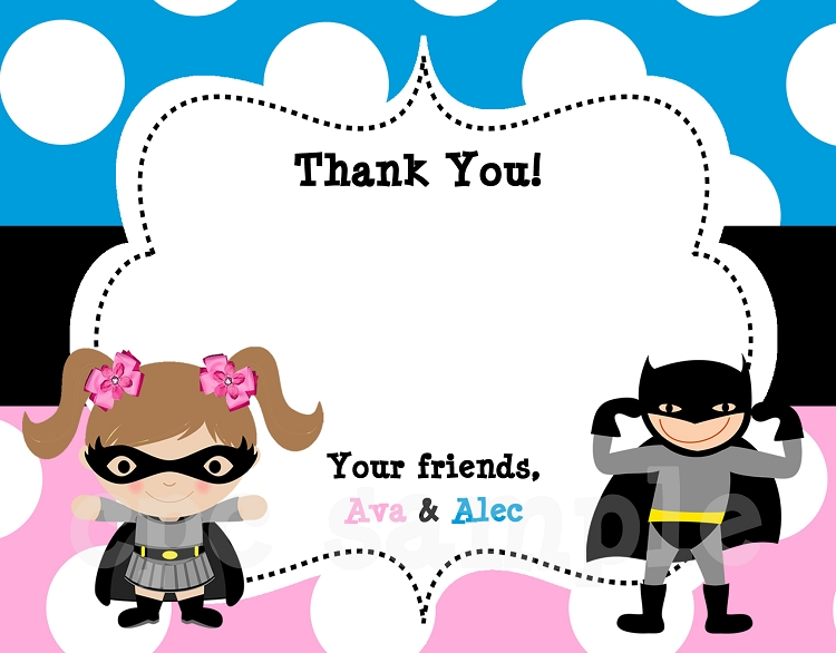 Batman Batgirl Thank You Cards Printable Or Printed