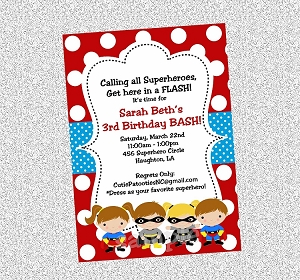 Batman Batgirl Superhero Invitations