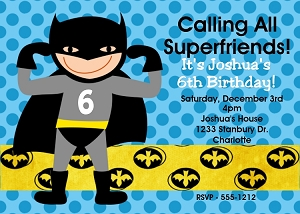 Batman Superhero Birthday Invitations - Printable or Printed
