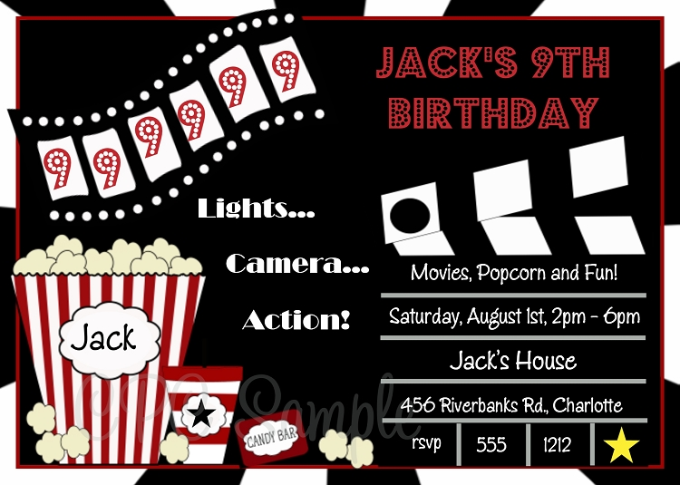 movie birthday invitations printable or printed. Black Bedroom Furniture Sets. Home Design Ideas