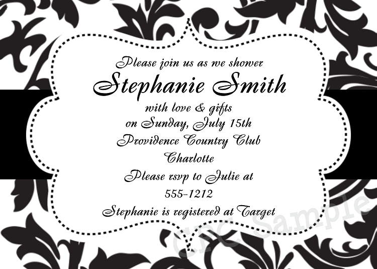 Black and White Damask Bridal Shower Invitations - Printable or ...