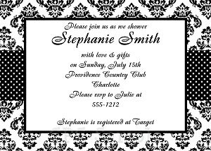 Damask Pattern Bridal Shower Invitation - Wedding Invitations
