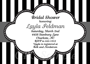 Bridal Shower Invitation with Stripes - Wedding Invitations