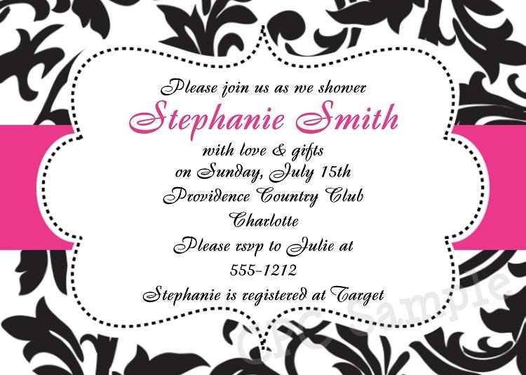 Black White and Pink Damask Wedding Shower Invitations – Black and White Damask Wedding Invitations