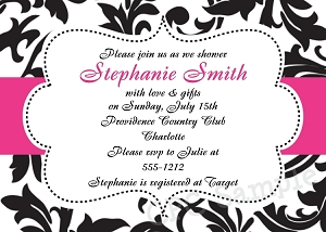 Black, White and Pink Damask Wedding Shower Invitations