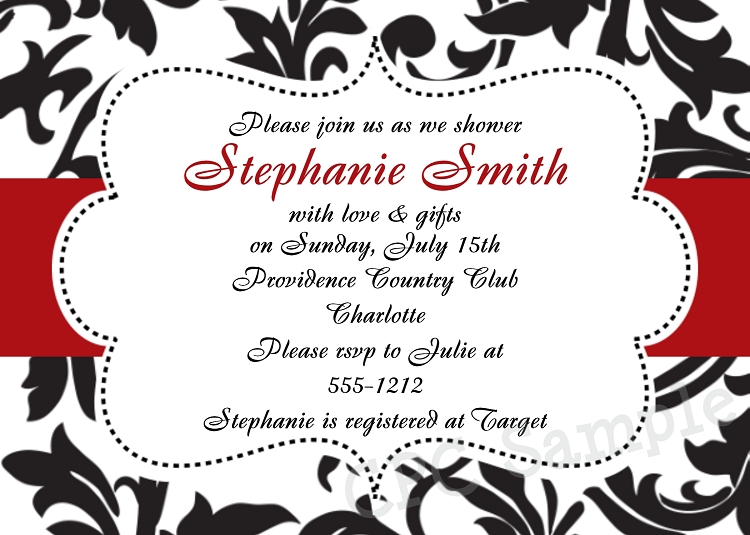 Black White and Red Damask Wedding Shower Invitations
