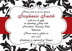 Black, White and Red Damask Wedding Shower Invitations