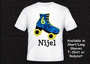 Royal Blue and Yellow Roller Skating T-Shirt Personalized