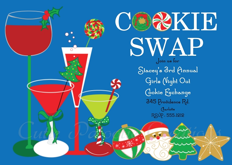 Cookie Swap Cookie Exchange Holiday Party Invitation Printable – Cookie Party Invitation