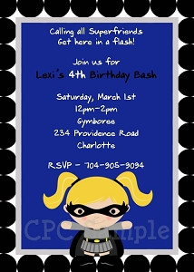 Batgirl Superhero Birthday Invitations - Printable or Printed