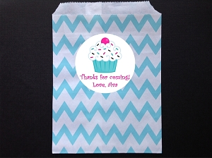 Cupcake Party Favor Bags and Personalized Stickers