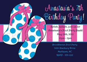 Polka Dots Flip Flops | Pool Party Invitations - Printable or Printed
