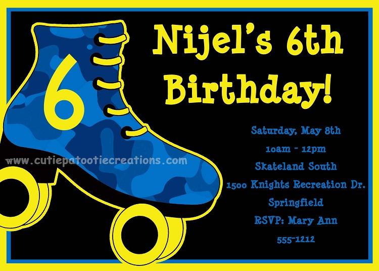 boys roller skating birthday invitations