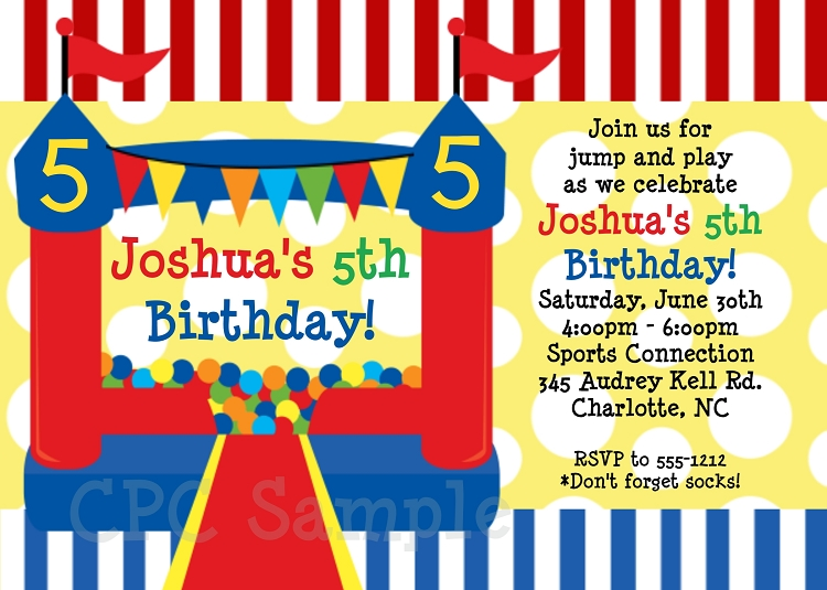 red and blue bounce house circus birthday party invitations. Black Bedroom Furniture Sets. Home Design Ideas