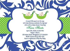 Pea in the Pod Twins Baby Shower Invitations
