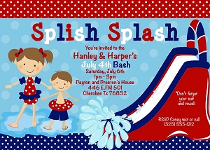4th of July Pool Party Invitations - Twins, Siblings, Joint Birthday