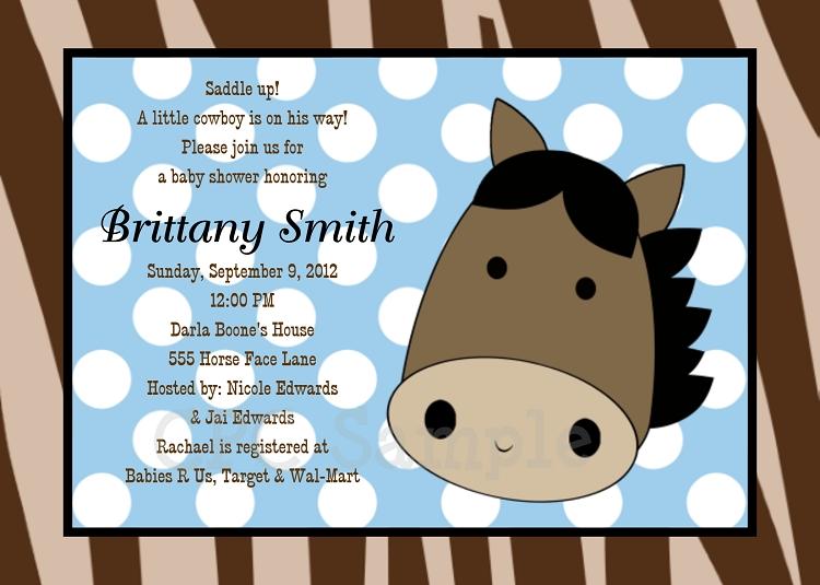 Western Cowboy Baby Shower Invitations