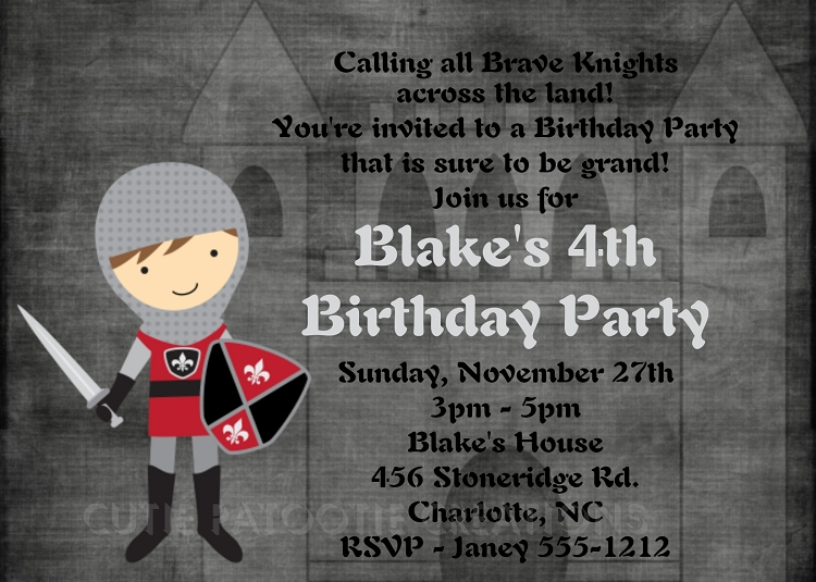 Knight Crusader Party Invitations - Printable or Printed