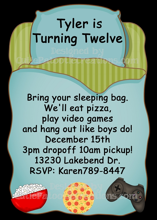 Sleepover Birthday Party Invitations for Boys – Sleepover Birthday Party Invitations
