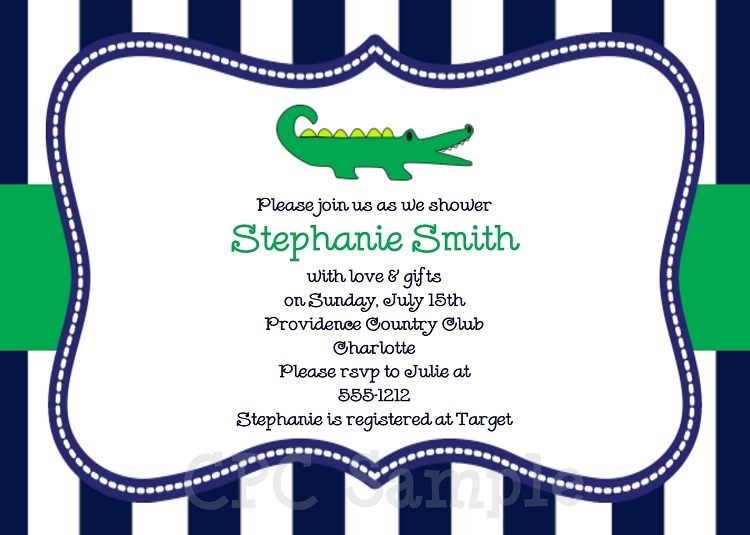 Alligator Baby Shower Invitations