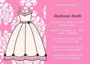 Bride Dress Bridal Shower Invitation - Wedding Invitations