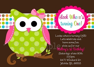 Owl themed party invitations