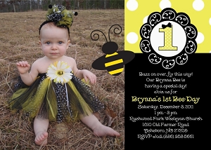 Bumble bee birthday party invitations decorations and supplies 1st birthday bumble bee photo invitation filmwisefo Images