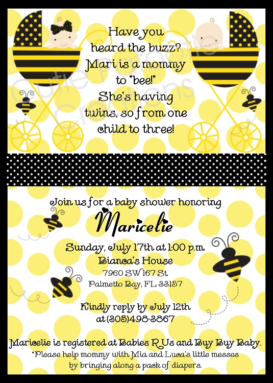 Bumble Bee Baby Shower Invitations For Twins