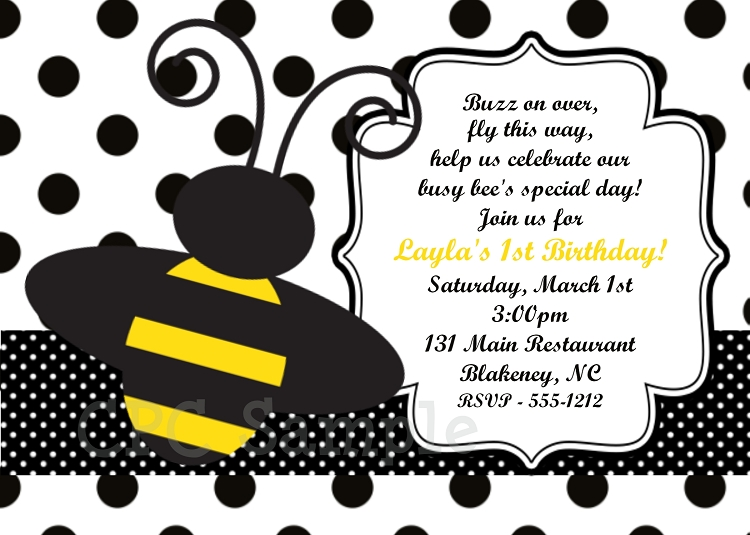 Bumble bee birthday party invitations decorations and supplies bumble bee polka dot birthday invitations filmwisefo