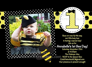 Bumble bee birthday party invitations decorations and supplies bumble bee party invitations with photo filmwisefo