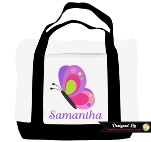 Monogrammed Butterfly Tote Bag - Personalized with Name