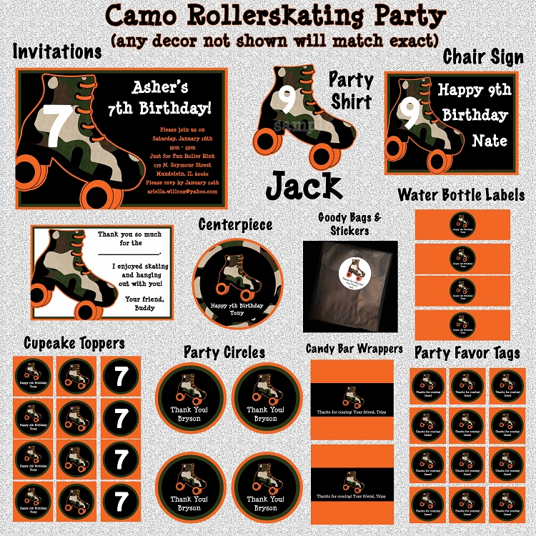 Camouflage Roller Skating Birthday Invitations Printable or Printed – Roller Skate Birthday Invitations
