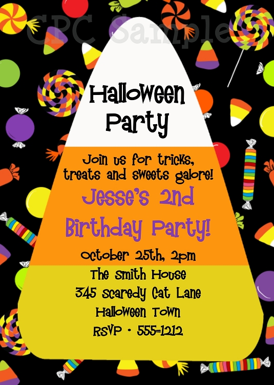 candy corn halloween party invitations printable or printed