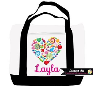 Monogrammed Candy Heart Tote Bag - Personalized with Name