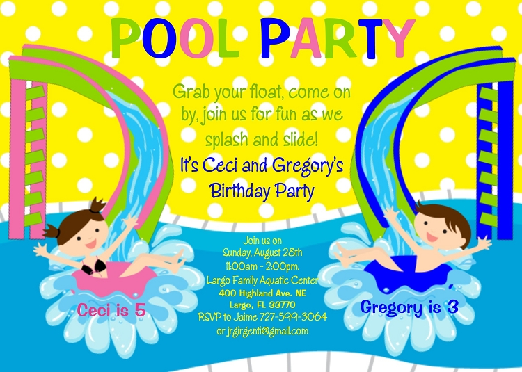 Pool party themed invitations – Water Slide Party Invitations