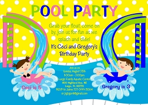 Pool Party Water Slide Birthday Invitation for Twins or Siblings