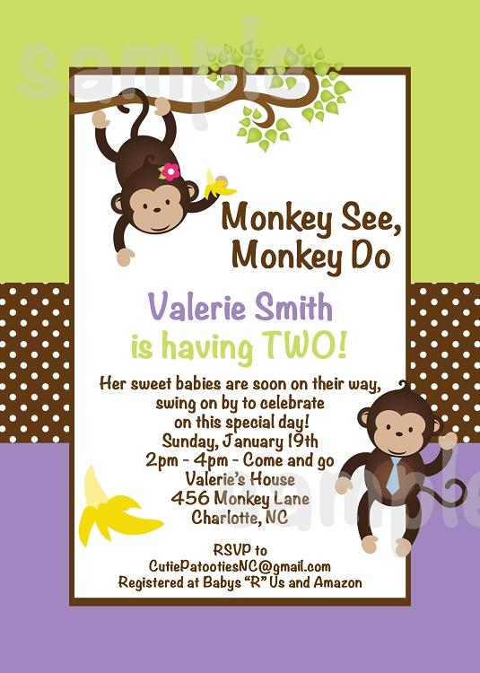 Twin monkeys baby shower invitations filmwisefo