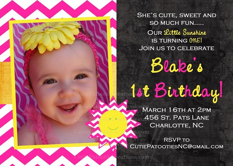 You are My Sunshine Birthday Invitations – 2 Year Old Birthday Invite