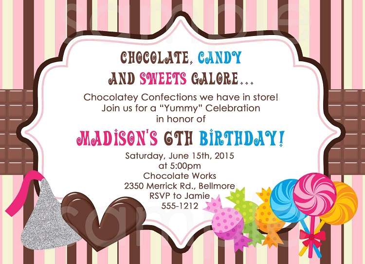 Chocolate Candy Birthday Party Invitations