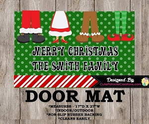Personalized Jolly Feet Christmas Door Mat