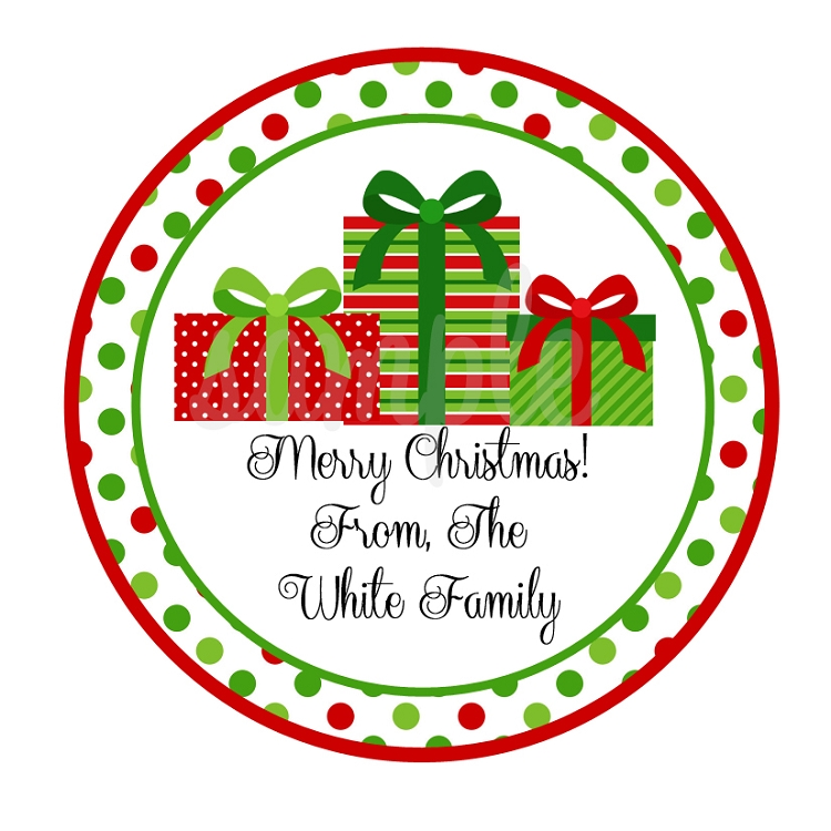 Personalized Wrapped Christmas Presents Stickers, Monogrammed ...