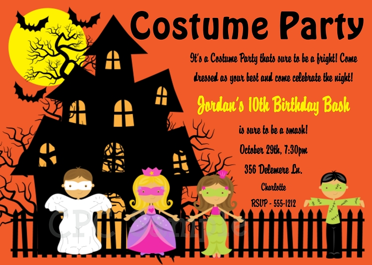 halloween costume party invitations - printable or printed, Party invitations